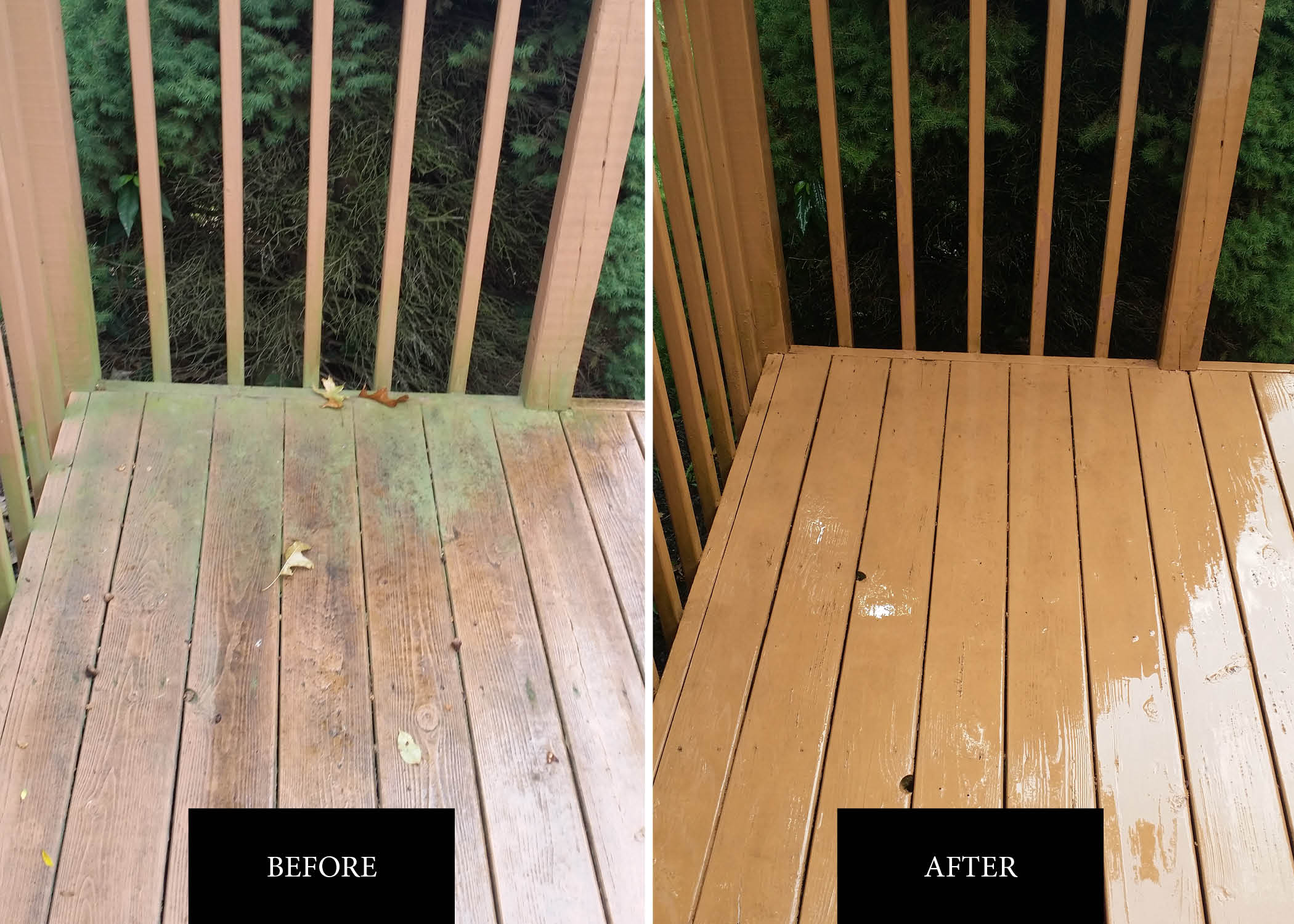 Deck Before After | Soft Wash Roof Service in Hagerstown MD